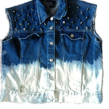 SALE Vintage Dip Dyed Denim Vest