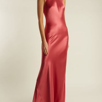 Halterneck silk-satin gown | Galvan | MATCHESFASHION.COM UK
