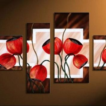 Abstract Red Poppies Flowers panel wall art painting on canvas