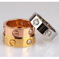 """Cartier"" Classic Stylish Women Men Rhinestone Couple Ring"