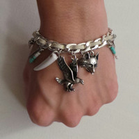 Boho Charm Bracelet-Turquoise-Feather-Eagle-Fox-Tooth