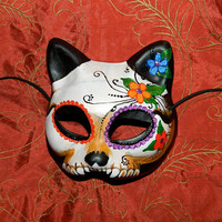 Day of the Dead Mask Dia de Los Muertos Kitty Cat Made to Order