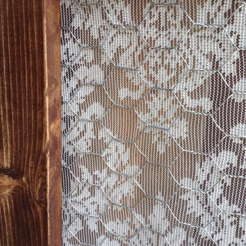 Barn Wood Window Frame with Chicken Wire and Vintage Lace