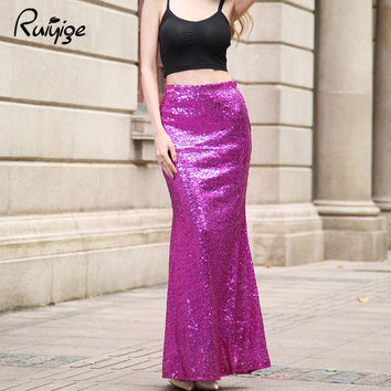 2017 Mermaid Fashion Women Trumpet Wrap Bodycon Long Maxi Skirts Sequined Floor Length Plus Size Work Swing Skirt Falda