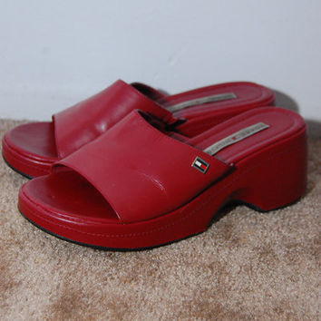 Tommy Hilfiger PLATFORM SANDALS (7 M) vintage wedge heel open toe soft grunge 90s red high raver rave seapunk cyber digital club kid chunky