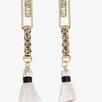 Tassel Diamond Bar Drop Earrings
