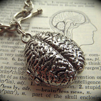 Zombie Brain Locket Bracelet Silver Plated Jewelry Anatomical Gothic Victorian Medical Health Biology Science Theme