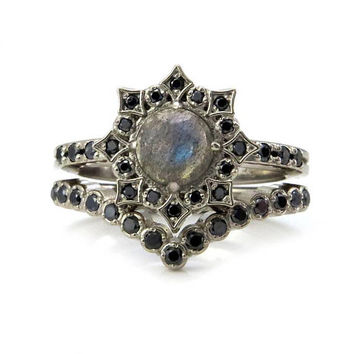 Black Diamond Mandala Engagement Ring Set with Rose Cut Labradorite - Gothic Victorian