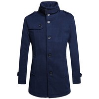 Buckled Stand Collar Shoulder Epaulets Buttoned Coat