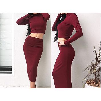 Fashion long sleeve high collar two-piece dress with velvet and sexy dress