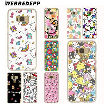 WEBBEDEPP Hello Kitty Cute Case for Samsung Galaxy S3 S4 S5 S6 S7 Edge S9 S8 Plus Note 8 9 Grand Prime