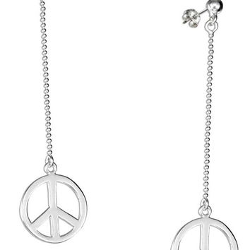 STERLING SILVER DANGLE PEACE SIGN EARRINGS