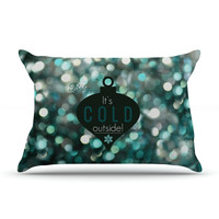 "Robin Dickinson ""It's Cold Outside"" Teal Pillow Case"