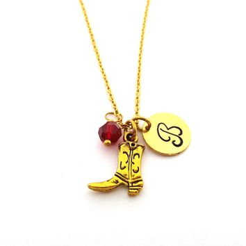 Cowboy / Cowgirl Boot Necklace - Gold Initial Necklace - Birthstone Necklace - Initial Disc Necklace - Personalized Necklace - Western Charm