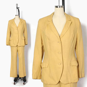 Vintage 60s Western Suit / 1960s Ladies Gold Western Jacket & Flared Pants Set S