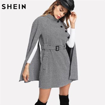 ee5333842a SHEIN Vintage Long Coat Women Black and White Fall Coat Cloak Sleeve Stand  Collar Self Belted