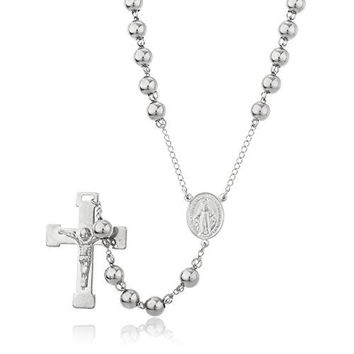 Silvertone Stainless Steel Jesus Cross with Mother Mary Charm and 8mm 34 Inch Rosary Chain
