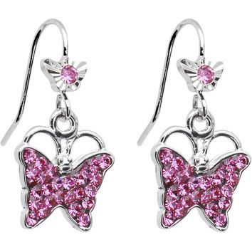 Perfect Pink Crystal Fluttering Butterfly Drop Earrings