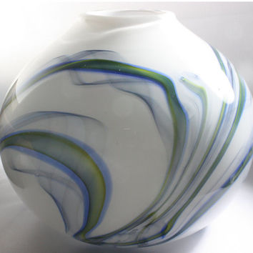 Opaque Closed White Bowl with Opaque Green and Blue Swirls Made From Cane, Hand Blown Glass Bowl - Free Shipping