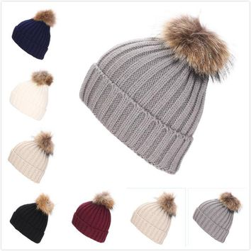 2017 New Arrival Acrylic Adult Beanie Fashion Winter Real Ball 15cm Raccoon Hat Paternity Stripe Thick Warm Cap Knitted Hats