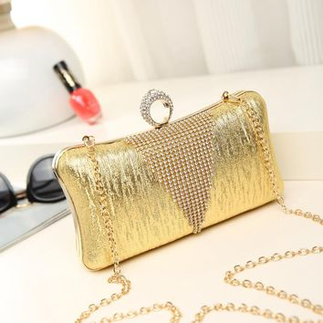 Fashion Women Shiny Diamonds Evening Bags Beaded Party Day Clutches Handbags Ladies Chain Purse Wallet Sac A Main Banquet Bag