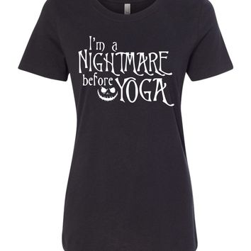 I'm a nightmare before Yoga - Halloween Yoga Top, Jack Skeleton Yoga, Funny Yoga Shirt - Halloween Yoga Class Costume