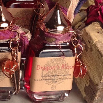 Dragons Blood Red Natural Pure Oil Alcohol Free Scent Perfume With Wire Wrapped Stone Alchemy Magic Protection Luck Transformation