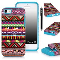 iPhone 5C Case, E LV iPhone 5C Case - Tribal Design Dual Layer Hybrid Armor Case Cover for iPhone 5C with 1 Black Stylus and 1 Screen Protector (Apple iPhone 5C, Turquoise)