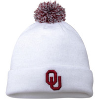 Oklahoma Sooners Top of the World Simple Knit w/ Pom Beanie – White