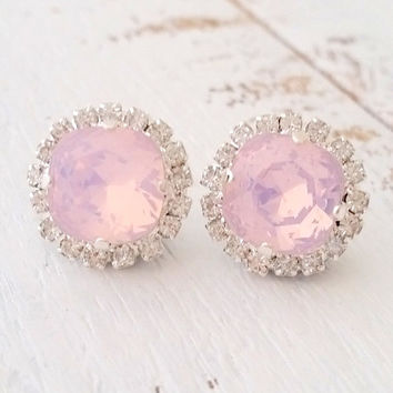 SALE Opal earrings,Pink opal stud earrings, Pink bridal earrings,Pink bridesmaid earrings,Swarovski earrings,Crystal earrings,Pink wedding