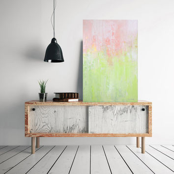 LARGE ORIGINAL abstract painting, spring art, pastel colors feminine painting, green and pink and gold abstract art by Julianne Strom
