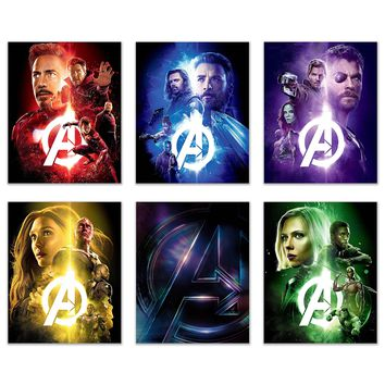 Infinity War Avengers - Marvel COLLECTORS Wall Decor Prints - Set of SIX 8x10 Poster Photos - BLACK PANTHER - CAPTAIN AMERICA THOR SPIDERMAN IRONMAN BLACK WIDOW