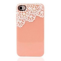 Amazon.com: Hand Made Lace and Pearl Peach Orange Hard Case Cover: Cell Phones & Accessories