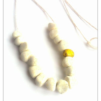 CHRISTMAS SALE White/Golden Bead Necklace, Glitter Necklace, December Gift, Polymer Clay Jewelry, Stocking Stuffer, New Years Gift, For Her