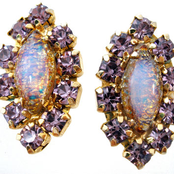 Foiled Art Glass Opal Rhinestone Earrings Vintage