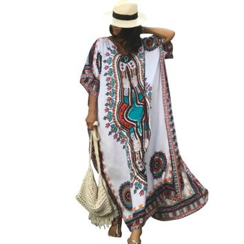 Plus Size Women Summer African Ethnic Print Kaftan Maxi Dress 2018 Summer Loose Vintage Boho Beach Long Dress