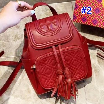 Tory Burch stylish solid color casual diamond lattice clamshell backpack #2