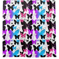 Butterfly Pattern Multicolored Rainbow Teen Girl Shower Curtain