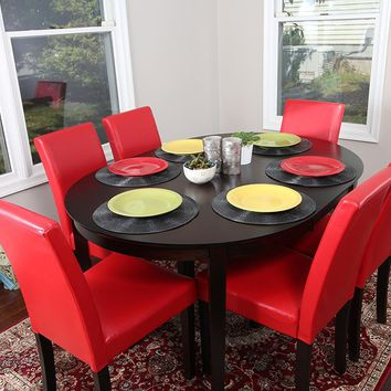 New Century® 7 Pieces Cappuccino Oval Dining Table With Red Leather Chairs
