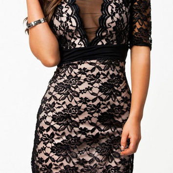 Mesmerizing V-neck Lace Surface Dress