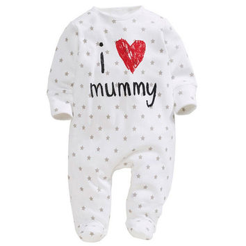 Funny born Baby Cotton Long Sleeve Rompers Love Mummy Daddy Clothes Y2 SM6