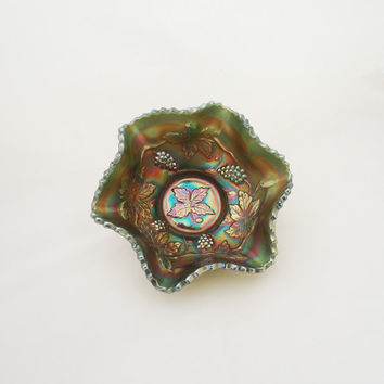 Vintage Fenton Green Carnival Glass Bowl, Green Carnival Glass Candy Dish, Grape Patterned Iridescent Ruffled Bowl