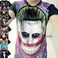 New Suicide Squad Harley Quinn Joker Short Sleeve T-shirt Cosplay Costume Movie Modal Tops