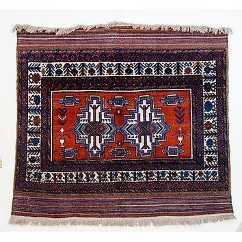 Vintage Kilim Rug, Tribal Rug, Persian Tribal Rug, Red
