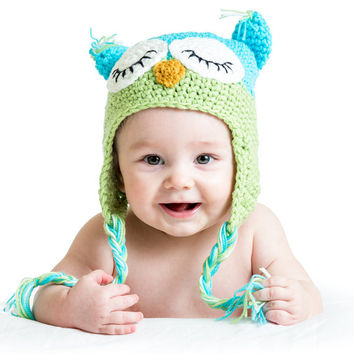 Green And Blue Owl Winter Hat - Owl winter hat, girl owl hat, toddler owl hat, baby owl hat, two toned owl hat, crochet owl hat