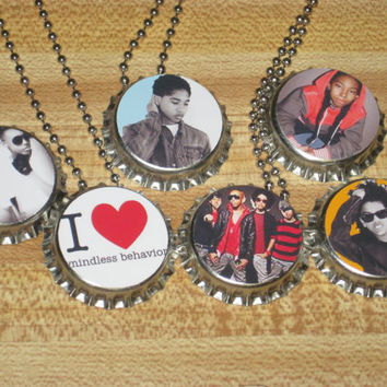 "mindless behavior bottlecap bottle cap ball chain  24"" necklaces party favors lot of 6"