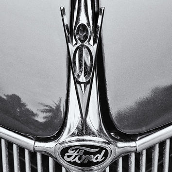 Photo, Ford, antique, classic, vintage, restored car, chrome grill, V8 hood ornament, gift for him, man cave art, old car photography print
