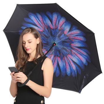 JESSEKAMM ping Windproof Reverse Folding Double Layer Inverted Umbrellas Self Stand Rain Sun Protection C-Hook For Car