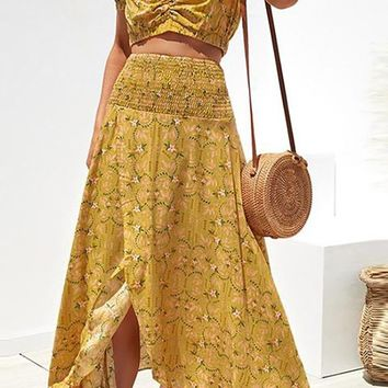 Summer In Florence Yellow Floral Pattern Short Puff Sleeve V Neck Crop Top Smocked Split A Line Casual Two Piece Maxi Dress