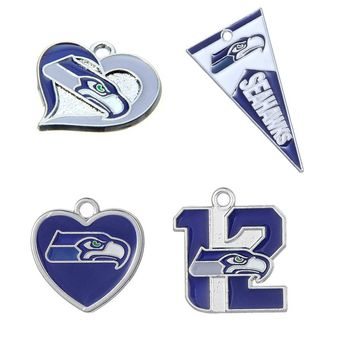 10PCS High Quality Enamel Metal Heart Charm Pendant Football Seattle Seahawks Sport For Fans DIY Necklace/Bracelet Jewelry